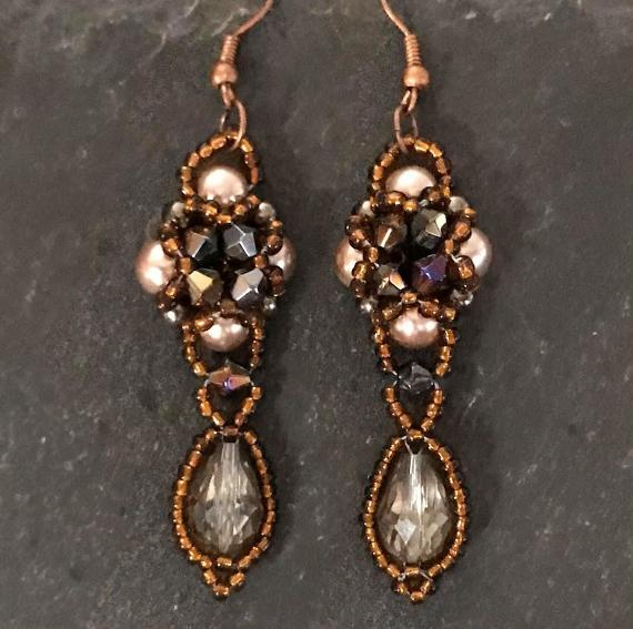 Hulton Abbey earrings made in shades of warm brown.