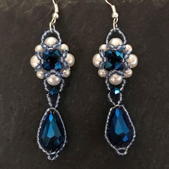 Blue and white Hulton Abbey earrings.