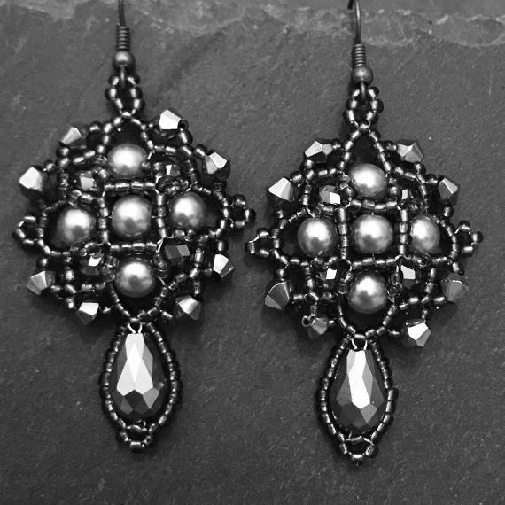 Demeter earrings in grey. I cheated with this photo and turned the gold earrings into a black and white photo because I had run out of grey beads.