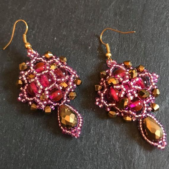 Front and back view of the pink and gold Demeter earrings.