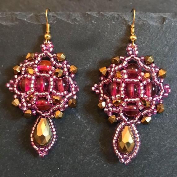 Fuchsia pink and gold demeter earrings.