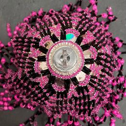 Chandelier bauble. Hot pink and black beads on a Christmas tree ornament.