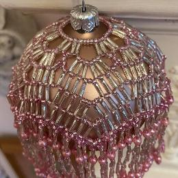 Lumiere bauble made from pink beads.