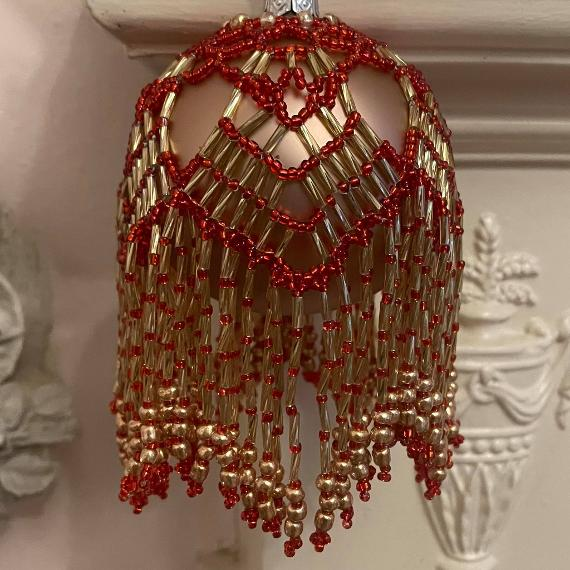Red and gold chandelier bauble.